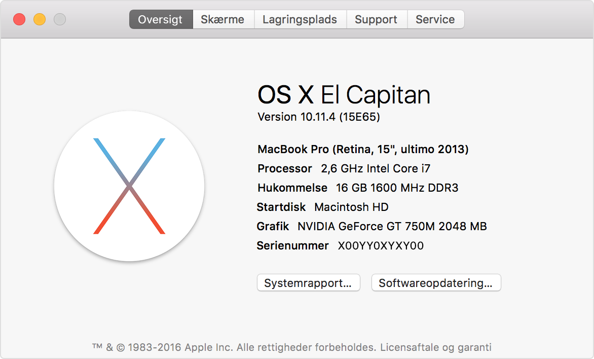 Tjek din Macbook-model under om denne Mac