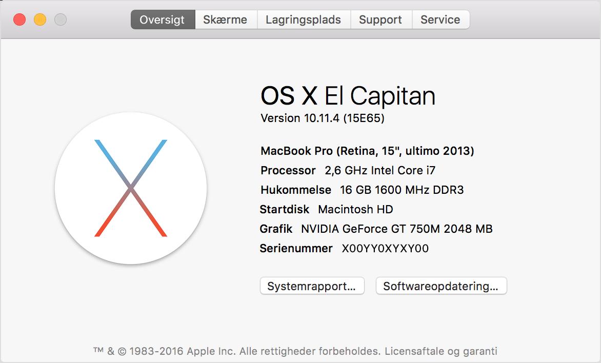 Tjek din Macbook-model under om denne Mac